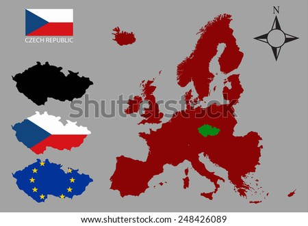 Czech Republic - Three contours, Map of Europe and flag vector