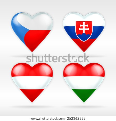 Czech, Slovakia, Austria and Hungary heart flag set of European states as collection of isolated vector state flags as icon elements on white - stock vector