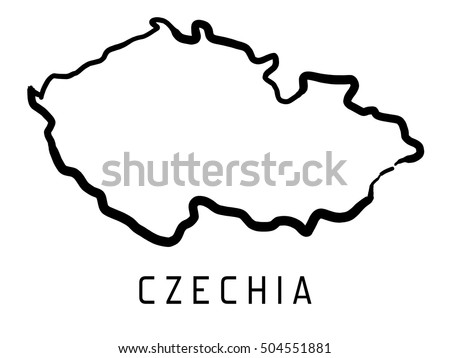 Czechia Map Outline Smooth Country Shape Stock Vector - Czechia map png
