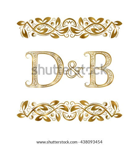 D And B Vintage Initials Logo Symbol The Letters Are Surrounded By Ornamental Elements