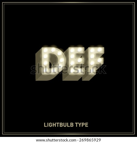 d,e,f lightbulb typeface/font vector/illustration - stock vector