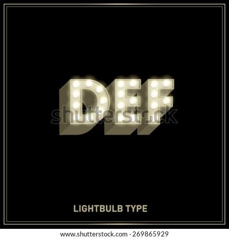 d,e,f lightbulb typeface/font vector/illustration - stock vector