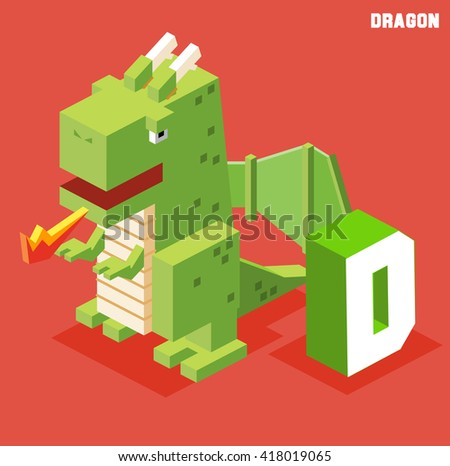 D for dragon. Animal Alphabet collection. vector illustration