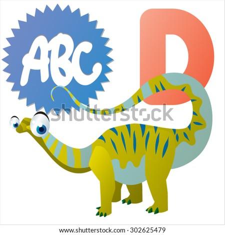 D is for Dinosaur - stock vector