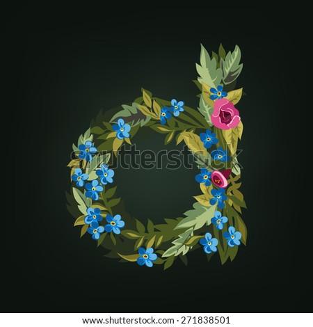 D letter. Flower  alphabet. Colorful font. Lowercase.  Vector illustration. - stock vector