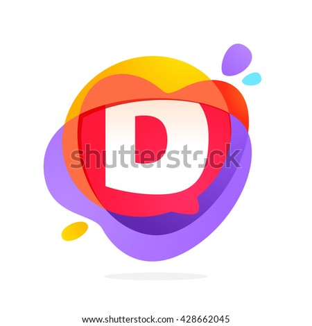 D letter logo with speech bubble and hearts. Vector typeface for communication app icon, corporate identity, card, labels or posters. - stock vector