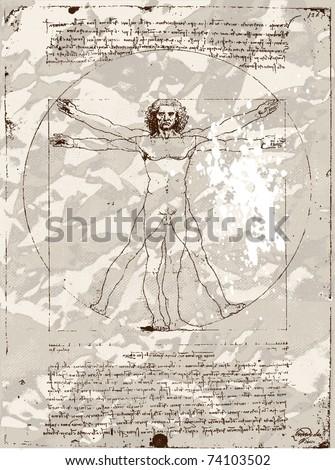 Da Vinci's Vitruvian Man grunge background - stock vector