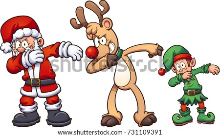dabbing christmas characters vector clip art stock vector 731109391 rh shutterstock com stock clipart santa hat stock clipart definition