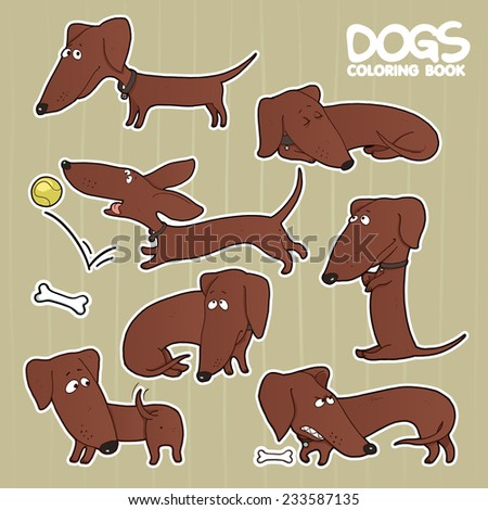 dachshund cartoon set - stock vector