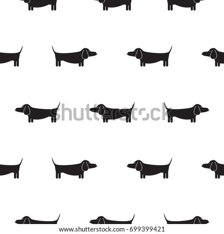 Dachshund Dog Silhouette Seamless Vector Monochrome Pattern Black And White Puppy Badger Breed