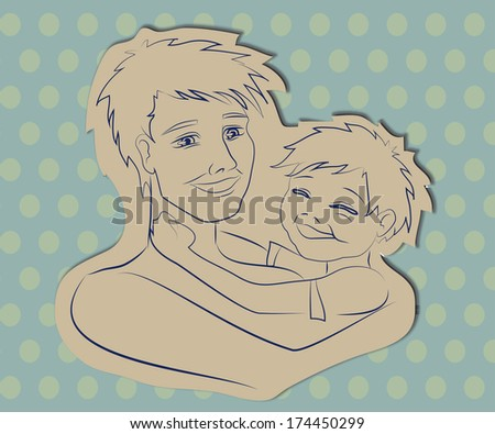 Dad and son are happy and smiling to each other - stock vector