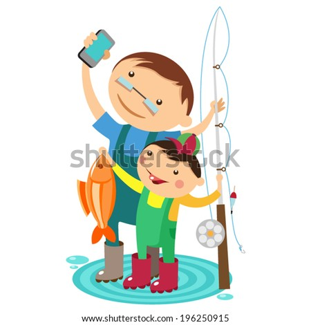 Dad and son fishing - stock vector
