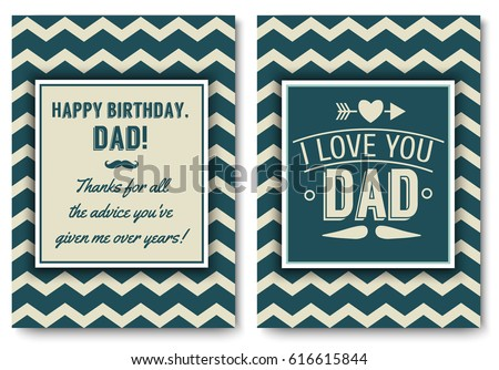 Dad happy birthday card set love stock vector 616615844 shutterstock dad happy birthday card set i love you words for greeting card or festive poster bookmarktalkfo Choice Image