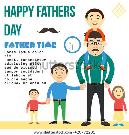 Dad keeps son by the hand. Dad and lots of children. sons and daughters. A man with a mustache wearing glasses. Banner for a family day. Father and his children. Happy Fathers Day. father with kid.  - stock vector