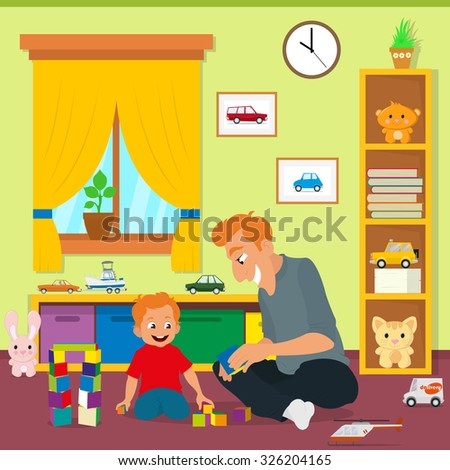 Dad playing with his son in the nursery. vector illustration.