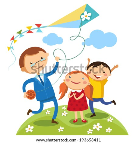 Dad with their children outdoors kites. Illustration for father's day - stock vector