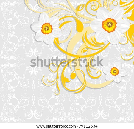 stock-vector-daffodils-on-the-ornamental