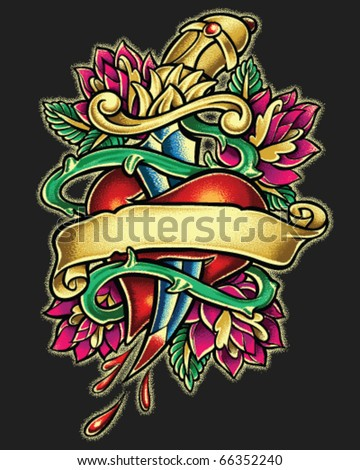 Dagger Heart Tattoo Style Illustration - stock vector