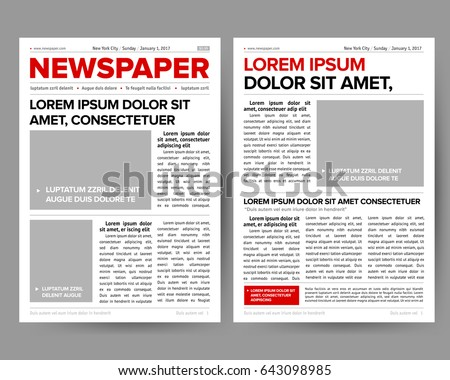 Graphical design newspaper template stock vector 213040195 daily newspaper journal design template with two page opening editable headlines quotes text articles and saigontimesfo