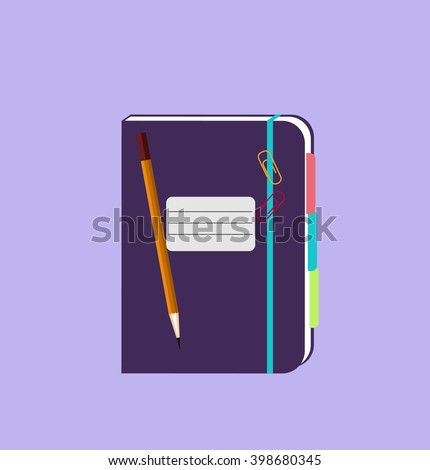 Daily notepad isolated design flat. Notebook paper, notepad icon paper for business, daily planner, diary page journal, organizer personal, pencil and notepad vector illustration - stock vector