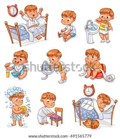 Daily Routine Activities Baby Sitting Childrens Pot Boy Brushing His Teeth Kid Neatly