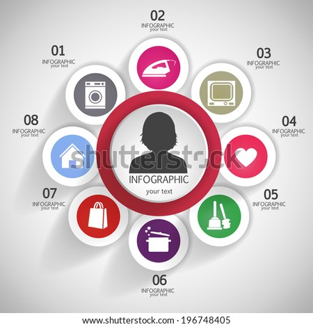 Daily Routine women. Modern business. Can be used for infographic, banner template, diagram, pictogram - stock vector