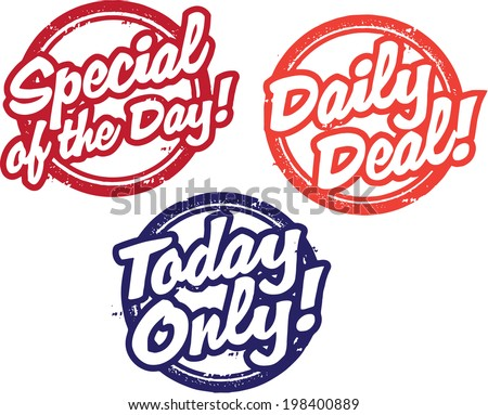 Daily Special Sale Stamps - stock vector