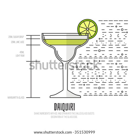 Daiquiri - Thin Flat Line Style Cocktail Recipe. Simple instructions on how to prepare the popular drink. Suitable for wall of your bar or on the web.