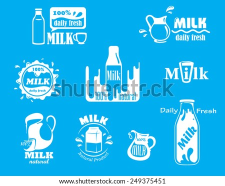 Dairy and milk vector icons for fresh product design on turquoise blue with various text and designs all incorporating the word Milk and various containers - stock vector
