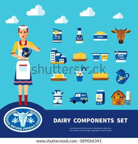 Dairy components set with icons of different natural products of milk and farm objects isolated vector illustration - stock vector