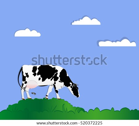 Dairy cow on a green meadow