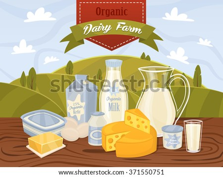Dairy product milk vector icon collection in cartoon style.