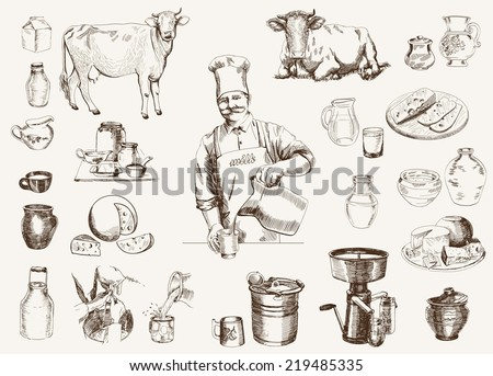 dairy production.  hand drawn illustrations. vector - stock vector