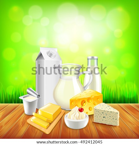 Dairy products on wooden table, green grass background vector