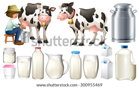 Dairy products set with farmer and milk - stock vector