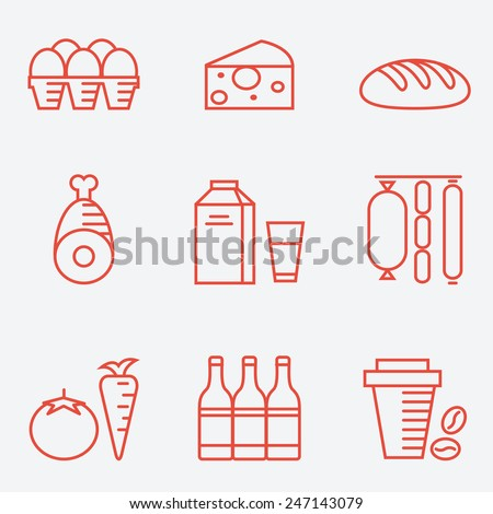 Dairy products, thin line style, flat design - stock vector