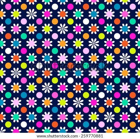 daisy dots ~ seamless background - stock vector