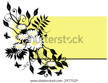 Daisy, flower and butterfly background  with a rectangle space to add text, vector illustration. - stock vector