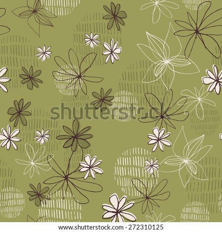 Daisy Line Drawing Contemporary Floral Seamless Repeat Wallpaper - stock vector