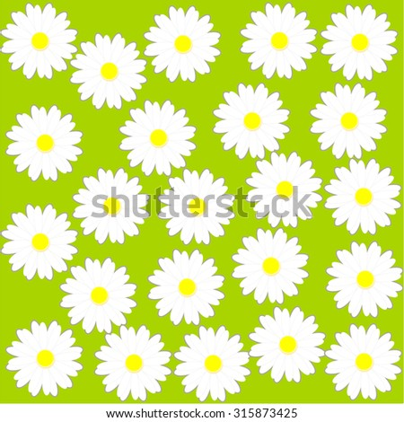 Daisy pattern on green background