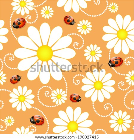 Daisy seamless summer background with ladybugs - stock vector