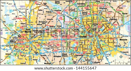 Dallas Fort Worth Texas Area Map Stock Vector 144155647 Shutterstock