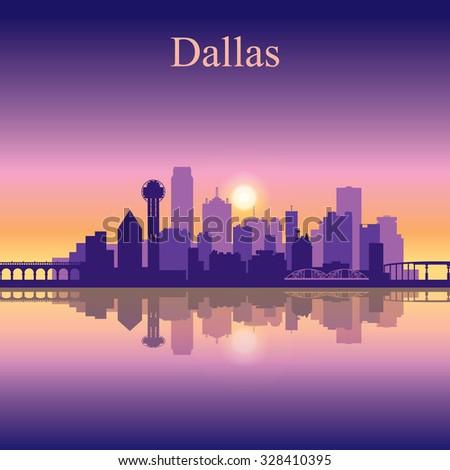 Dallas city skyline silhouette background, vector illustration - stock vector