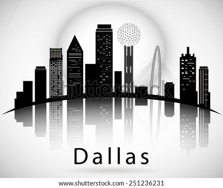 Dallas silhouette, Texas United States of America States. Cities Skyline  - stock vector