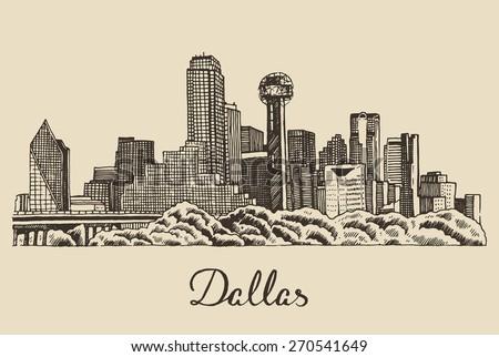 Dallas skyline, big city architecture, vintage engraved vector illustration, hand drawn, sketch. - stock vector