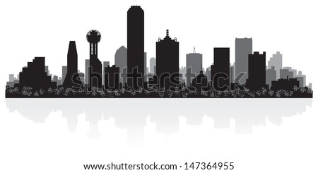 Dallas USA city skyline silhouette vector illustration - stock vector