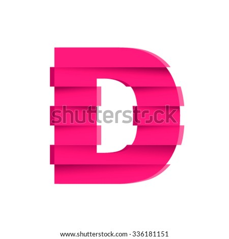 Damaged font, letter D - stock vector