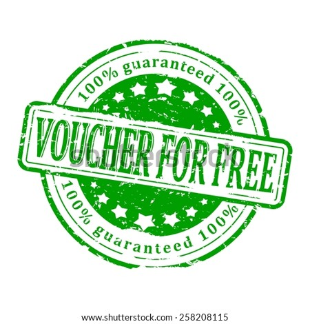 Damaged round green stamp with the inscription - voucher for free - vector - stock vector