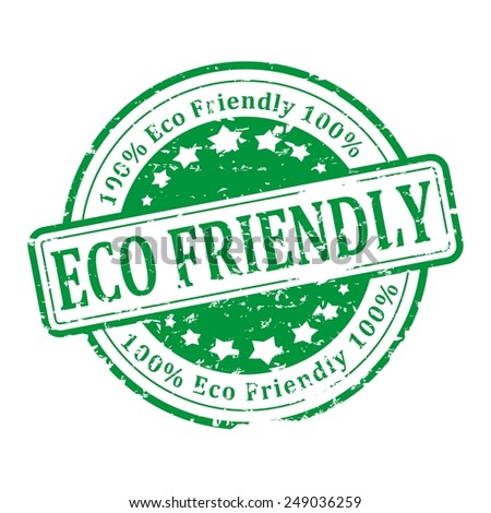 Damaged round green stamp with the word - eco friendly - vector - stock vector