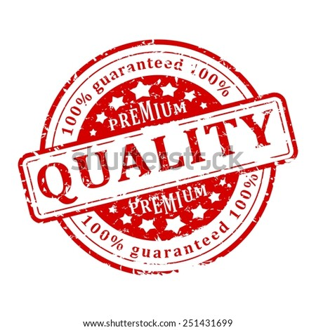 Damaged round red stamp with the word - guaranteed premium quality - vector - stock vector